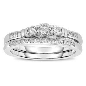 1/2 Carat Diamond Bridal Engagement Ring Set NEW